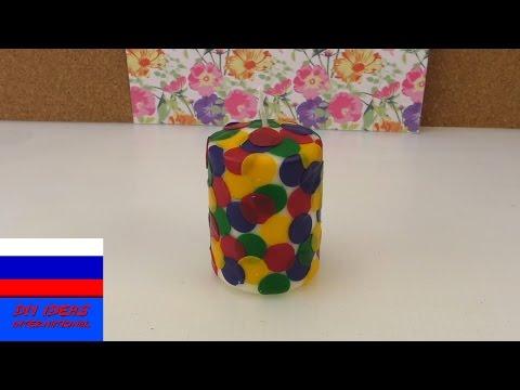 Свеча с цветной мозайкой декор идея