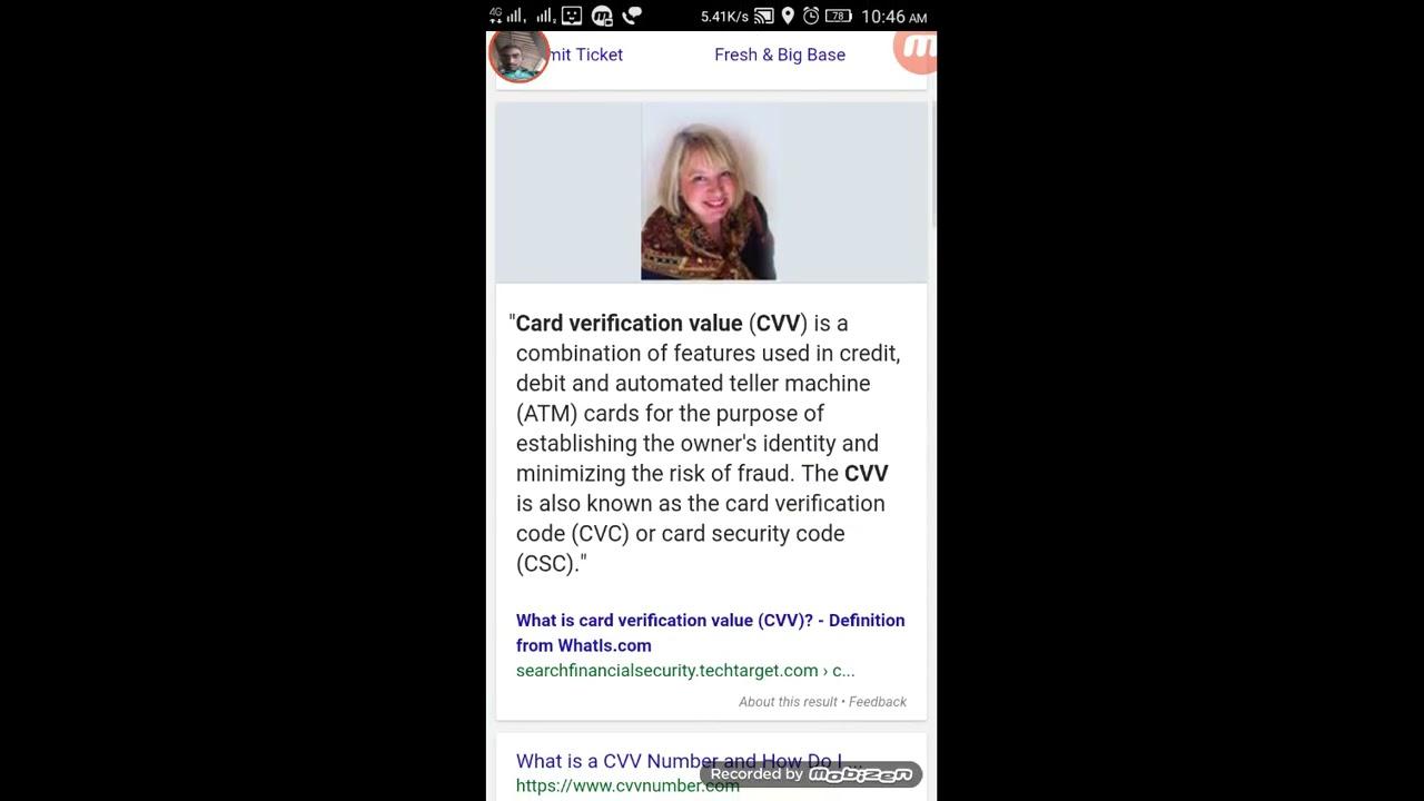 cvv debit card number