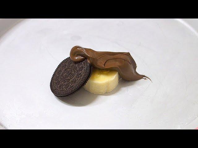 바나나+누텔라+오레오+초코우유 철판아이스크림 만들기 banana Nutella ICE CREAM ROLLS
