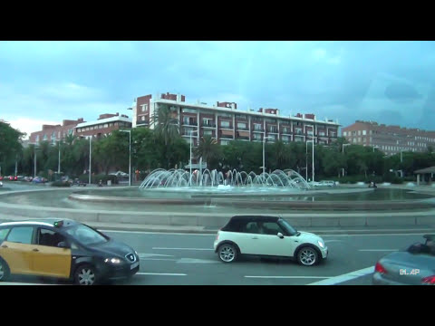 Barcelona  -  driving through the city  HD