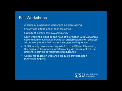 SJSU Office of Research - University Grants Academy Information Session In Person 9-25-17