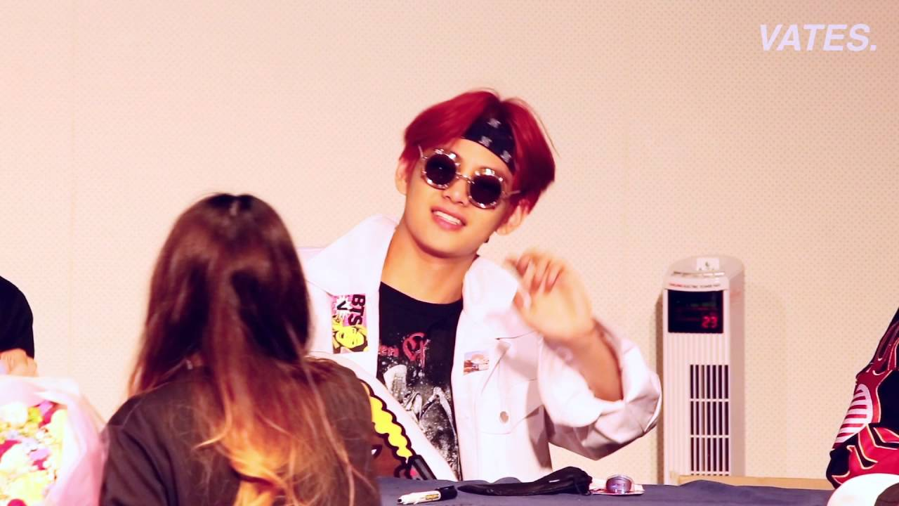 bts v taehyung cute moment in fansign youtube