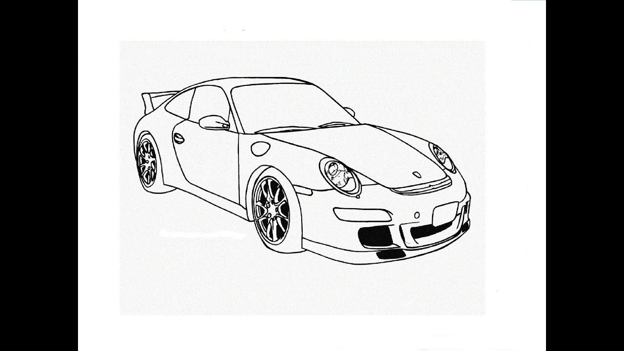 Porsche 911 Line Drawing