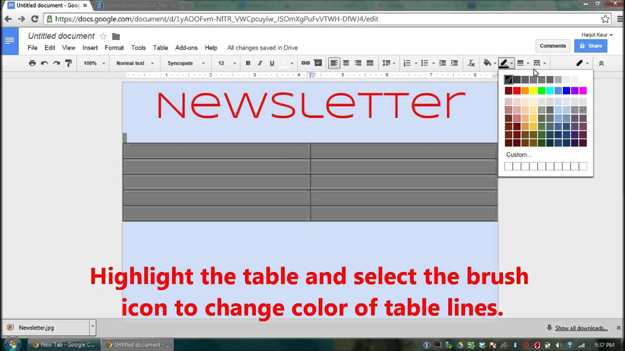 make a newsletter with google docs youtube