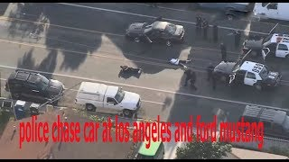 police chase ford mustang and car at los angeles