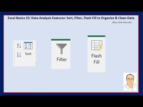 Excel Basics 23: Data Analysis Features: Sort, Filter, Flash Fill to Organize & Clean Data