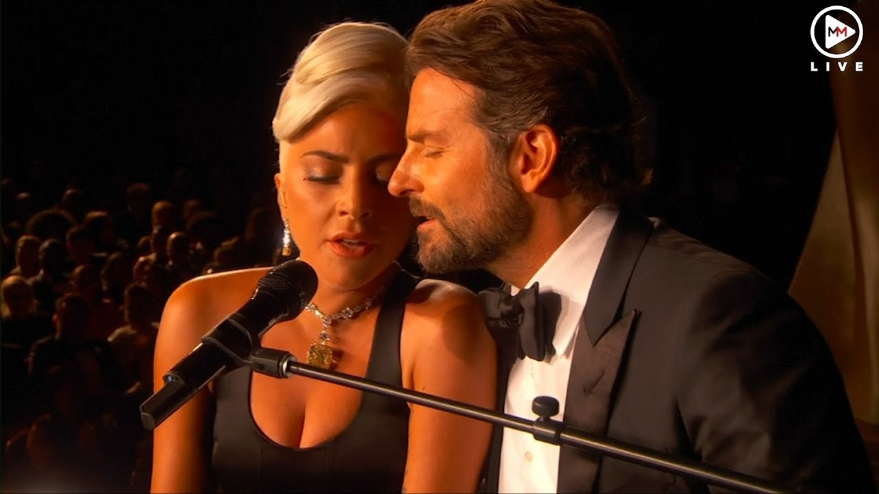 Lady Gaga and Bradley Cooper perform on the Oscars stage
