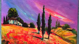Acrylic Painting Of Tuscany Step By Step Youtube