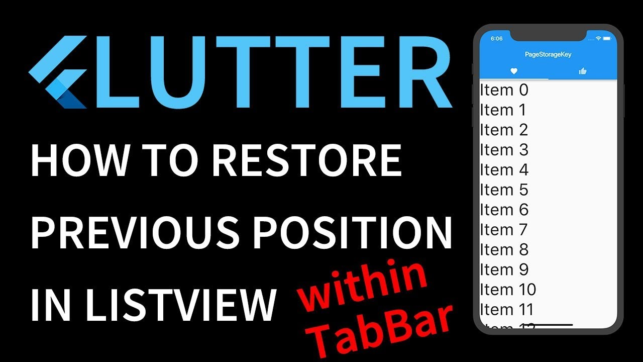 [ENG SUB] Flutter tutorial - PageStorageKey - How to restore previous  scroll position of ListView