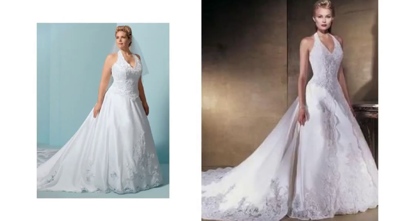 Halter Top Wedding Dresses Plus Size Youtube