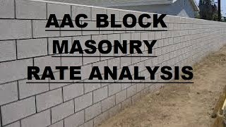 AAC Block Masonry - Rate Analysis