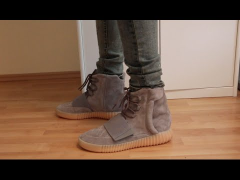 83a078c6973 Adidas Yeezy 750 Boost(Light Grey Gum Sole) W On Foot Review - YouTube