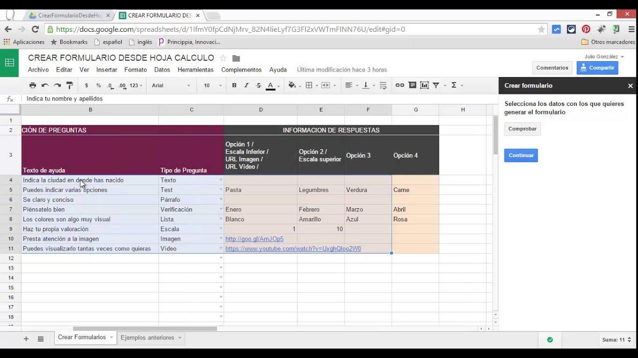 Crear formularios de Google desde una hoja de cálculo - YouTube