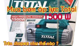 #LongTuyềnVlog # Mua máy bơm áp lực Total (1500w) TGT11236 để rửa xe trên shopee