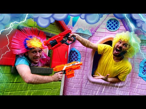 Игры стрелялки под дождём – Что придумали Нерферы? – Видео шоу онлайн с Бластерами Нерф.