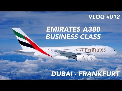 Emirates A380 Business Class Dubai to Frankfurt - A rainy Morning in the Desert | Full Flight Report