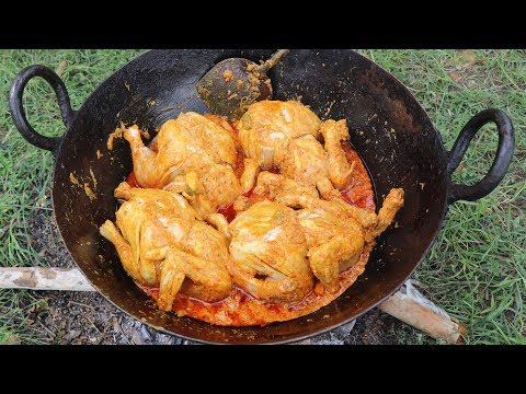 NEVER SEEN WHOLE CHICKEN GRAVY RICE | INDIAN CHICKEN RECIPE COOKED IN THE JUNGLE | FULL COOKING