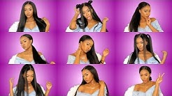 9 Easy Hairstyles for a 360 PRE-PLUCKED Lace Frontal Wig ft. Lwigs | Pitts Twins