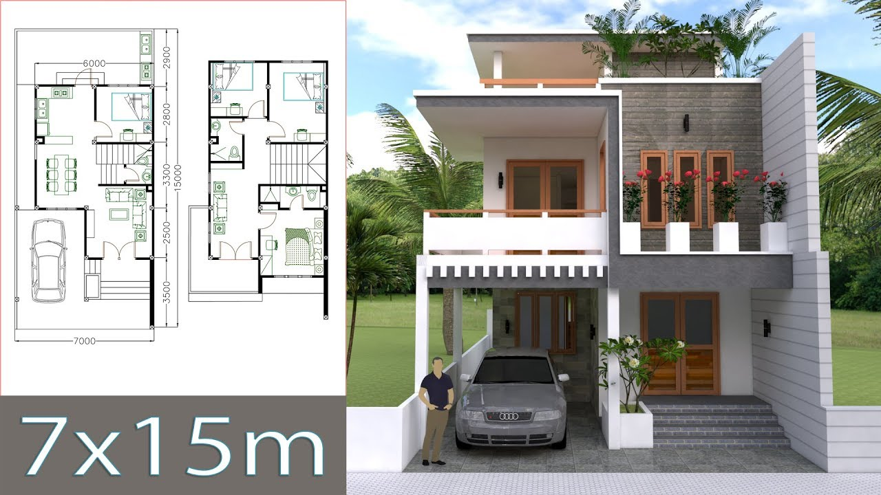 House Plan Small Home Design: Home Design Plan 7x15m With 4 Bedrooms