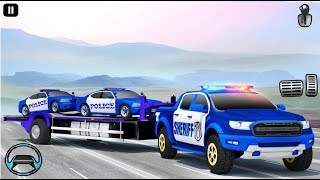 Grand US Police Car Transport Truck: Parking Game Android Gameplay screenshot 1