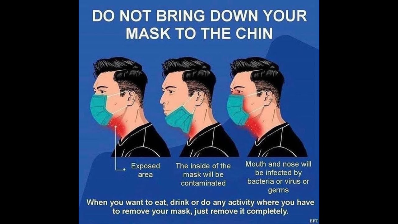 DO NOT BRING DOWN YOUR MASK TO THE CHIN