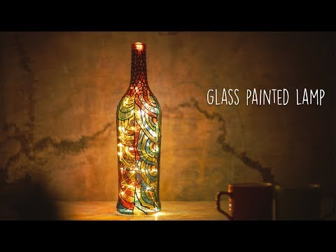 Glass Painted Lamp | Bottle Art |  Glass Painting