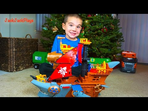 Kid Playing With Toys: Shark Bite Pirate Ship Toy UNBOXING - JackJackPlays