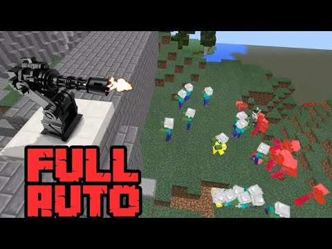 How To Make A FULL AUTO TURRET! With COMMAND BLOCKS In Minecraft PE