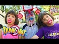 DUNK HAT CHALLENGE EXTREME KIDS & Dad Family Fun GAME with TWIN FAMILY FUN