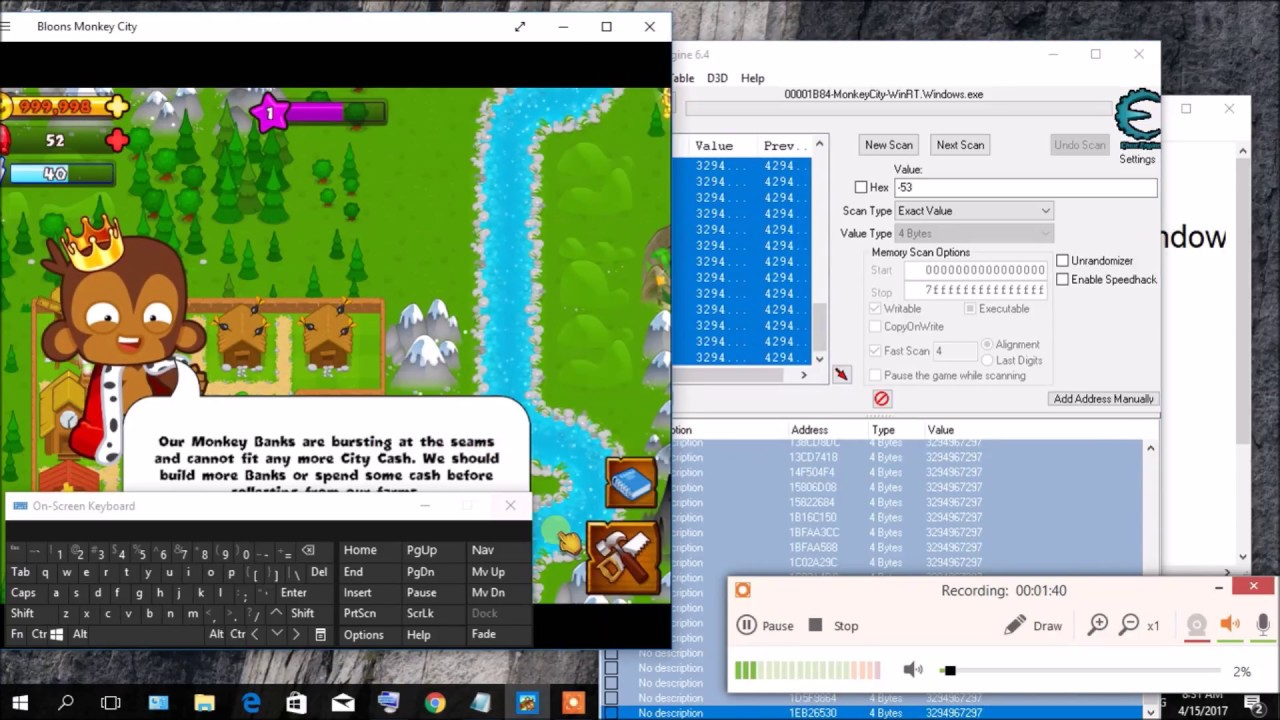 How to hack bloon monkey city on window 10 with cheat engine