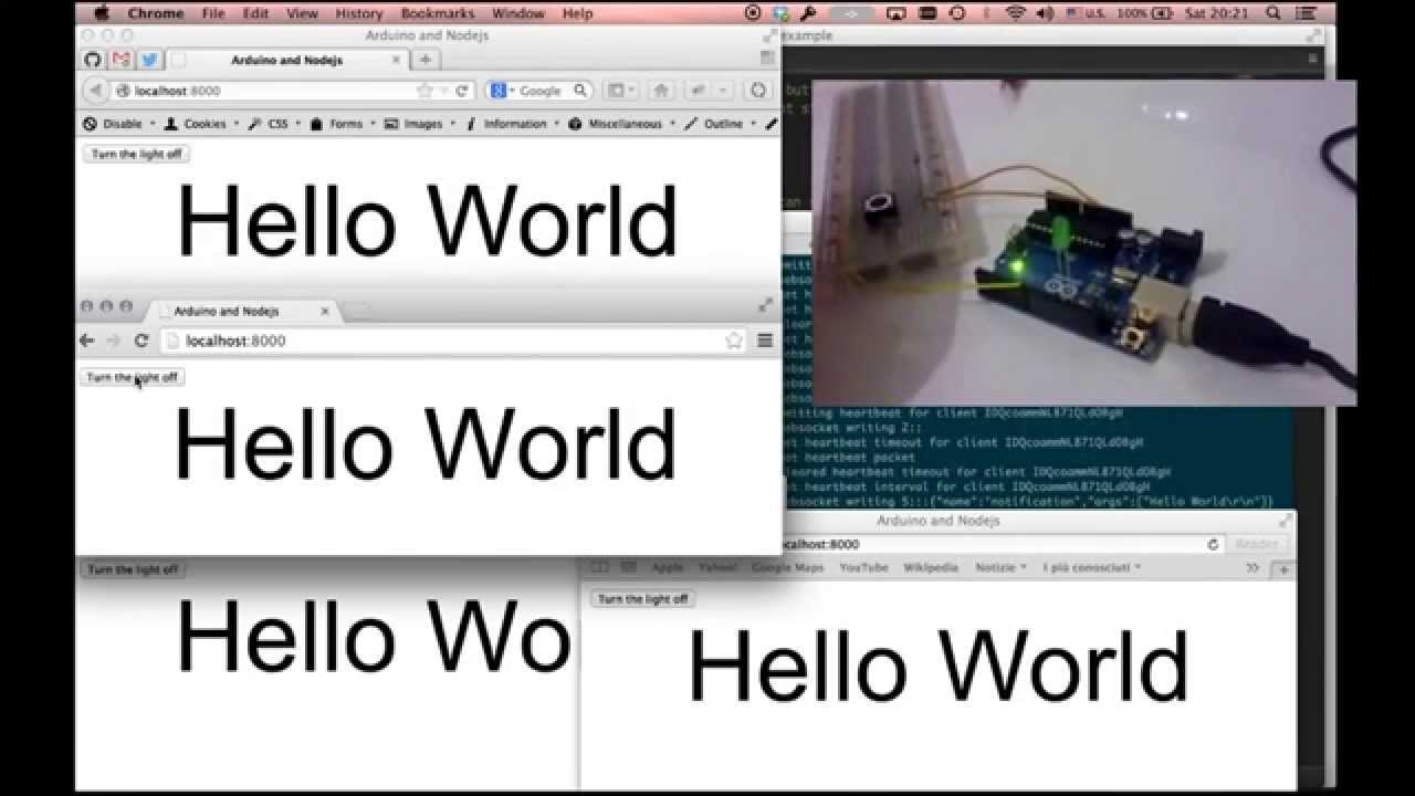 Nodejs Arduino Real Time Hello World App Youtube Relay Control With Johnnyfive Devacroncom