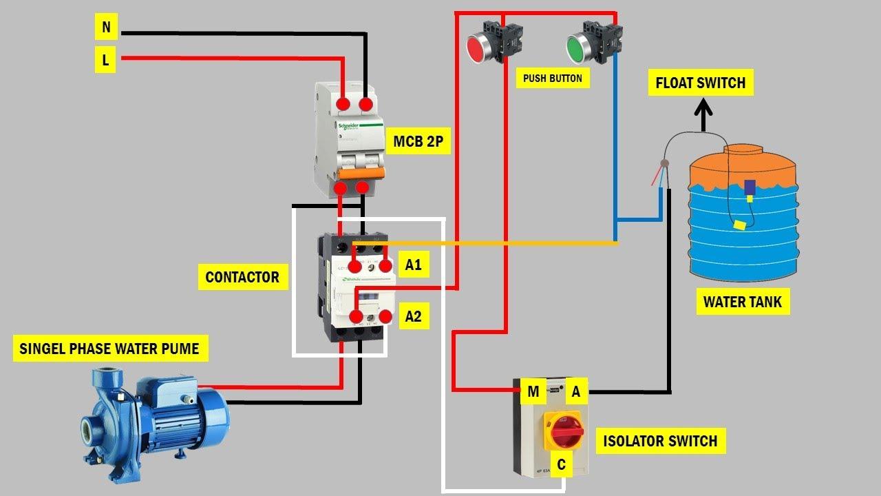 Cara Memasang Sakelar Otomatis Dan Manual Pompa Air 1 Phasa Menggunakan Kontaktor And Push Button Youtube