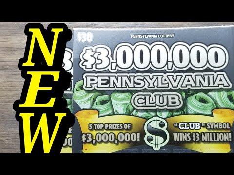 NEW $30 $3,000,000 PENNSYLVANIA CLUB.  PA LOTTERY SCRATCH TICKETS