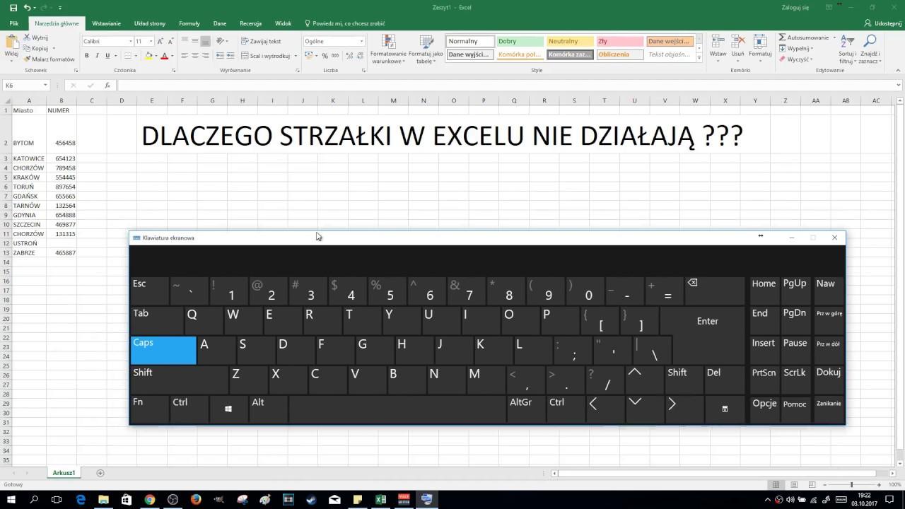 EXCEL – Strzałki nie działają Scroll Lock włączony na klawiaturze | ForumWiedzy.pl