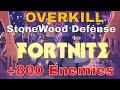FORTNITE - StoneWood Defense Lvl10 OVERKILL . +800 ENEMIES