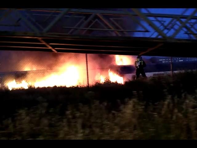 Incendio en un tren en el antiguo MercaSalamanca