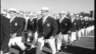 Group of Italian athletes march to the stadium during Summer Olympics of 1960 in ...HD Stock Footage