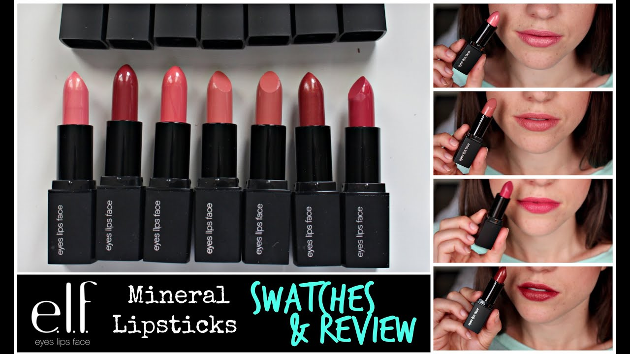 ELF Mineral Lipsticks | Lip Swatches & Review - YouTube