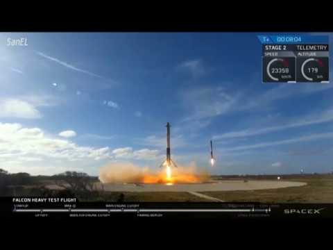 синхронная посадка двух боковых модулей первой ступени SpaceX Falcon Heavy