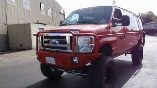 2006 ford e350 diesel van 4x4 with 2012 front end awsome red