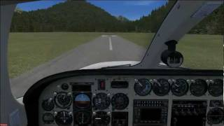 Cessna 340 landing at Ranger Creek 21W, FSX