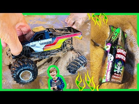 Toy Monster Trucks Stuck in the Sand!