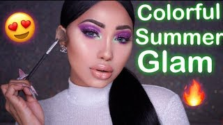 COLORFUL SUMMER GLAM MAKEUP TUTORIAL | Melly Sanchez