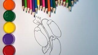 Drawing For Kids Easy Eggplant | Dibuja y Colorea Berenjena | Dibujos Para Niños