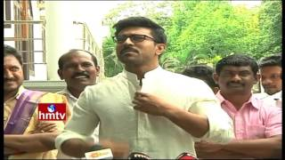 Ram Charan Speaks To Media About Chiranjeevi 150th Movie Khaidi No 150 First Look Teaser   HMTV