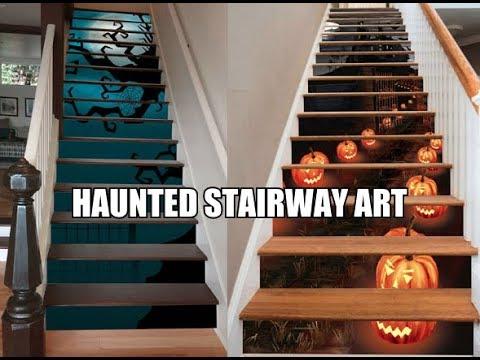 Haunted Stairway Art - Halloween Stairway Art Decals - YouTube