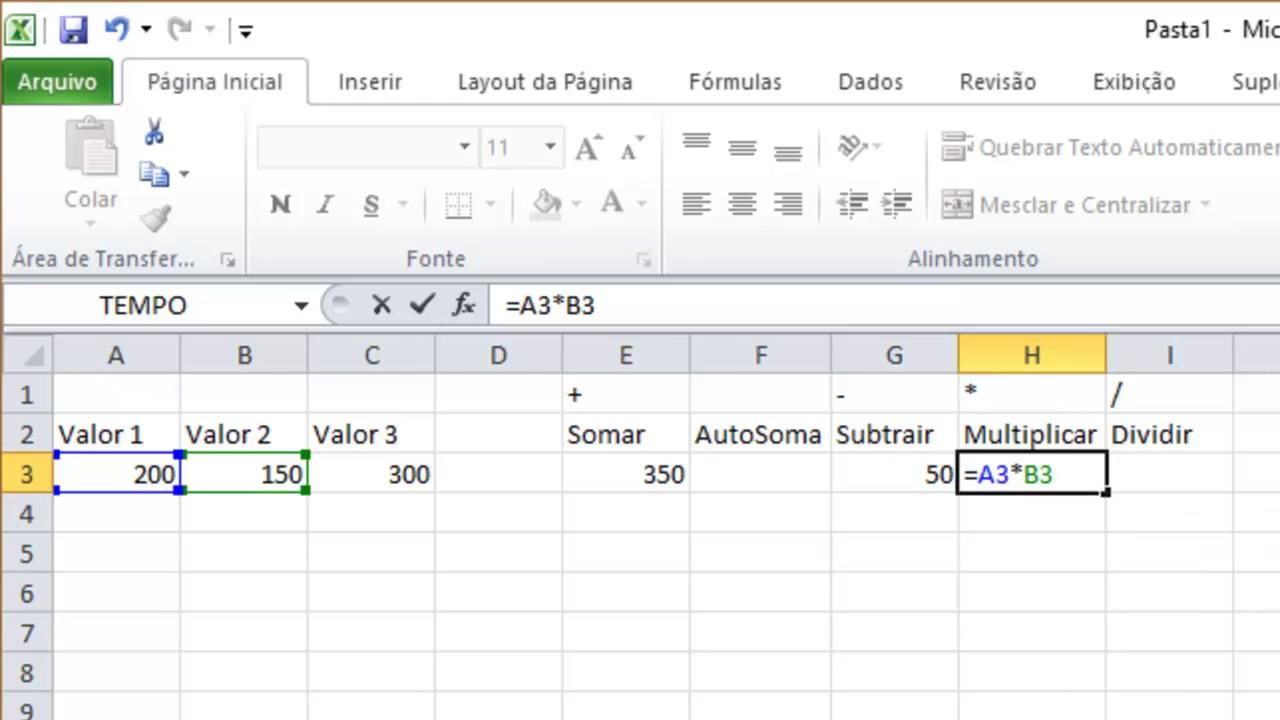 Excel 20   Fórmulas Básicas Soma, AutoSoma, Subtração, Multiplicação e  Divisão