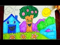 How To Draw A Cartoon House And Tree | Kids Coloring Video
