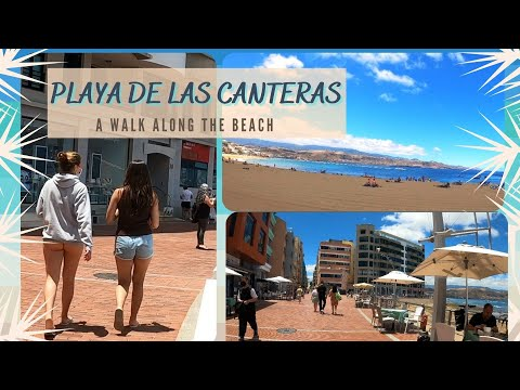 4K | Las Palmas Spain | A walk along the beach | Playa de Las Canteras