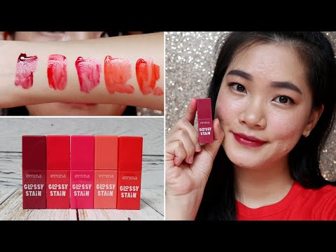 REVIEW DAN SWATCHES EMINA GLOSSY STAIN ALL SHADES - YouTube
